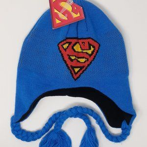 """NWT DC Comics /""""Superman/"""" Boys Winter Beanie Blue and red  Sizes S,M and L"""